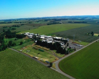 An aerial view of Doerfler Farms.