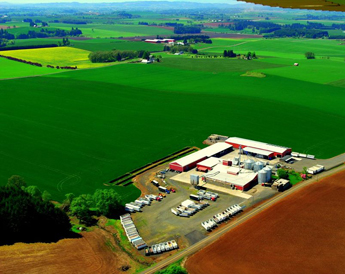 An areal view of Ioka Farms.